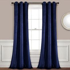 Navy Prima Velvet Curtain Panel Set 84 In