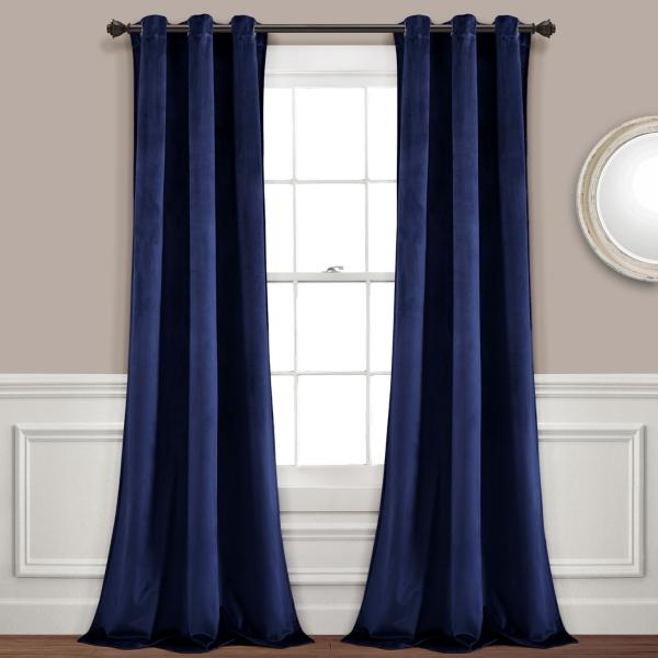 Navy Prima Velvet Curtain Panel Set, 84 In.