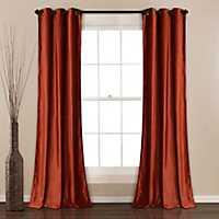 Orange Prima Velvet Curtain Panel Set, 84 in.