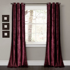 Burgundy Prima Velvet Curtain Panel Set, 84 in.
