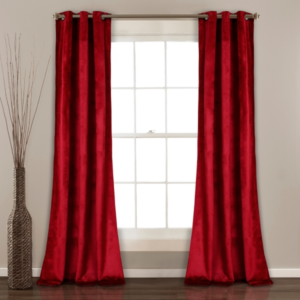 Red Prima Velvet Curtain Panel Set, 84 In.