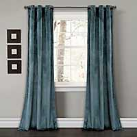 Slate Blue Prima Velvet Curtain Panel Set, 84 in.