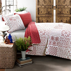 Red Monique 3-pc. Full/Queen Quilt Set