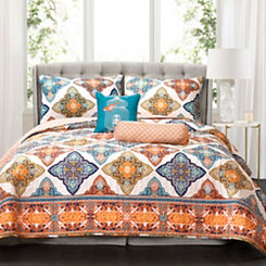 Turquoise Persis 5-pc. Full/Queen Quilt Set