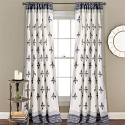 Navy Budapest Curtain Panel Set, 84 in.