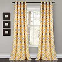 Yellow Ikat Diamond Curtain Panel Set, 84 in.