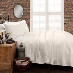 White Pom-Pom Stripe 3-pc. King Quilt Set