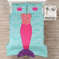 Pink and Purple Mermaid 3-pc. Full Quilt Set