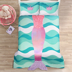 Pink and Purple Mermaid 2-pc. Twin Comforter Set