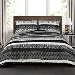 Black and White Boho 3-pc. King Quilt Set