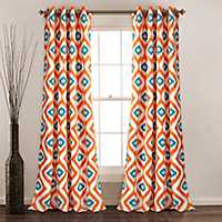 Turquoise Ikat Diamond Curtain Panel Set, 84 in.