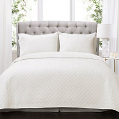 White Ava Diamond 3-pc. Oversized King Quilt Set