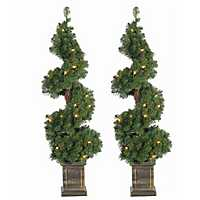 Pre-Lit Spiral Pine Potted Trees, Set of 2