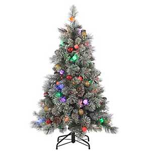 4.5 ft. Pre-Lit Flocked Pine Christmas Tree