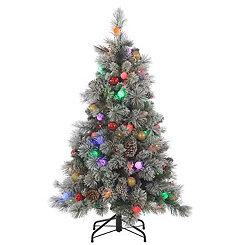 4.5 ft. Pre-Lit Flocked Pine Christmas Tree