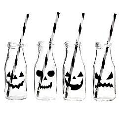 Jack O' Lantern Milk Bottle Glasses, Set of 4