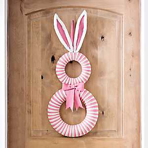 Pink and White Bunny Burlap Easter Wall Decoration