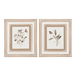 Butterfly Foliage Framed Art Prints, Set of 2