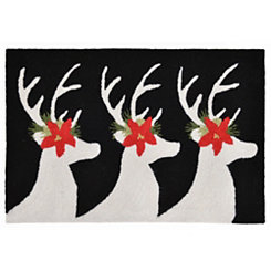 Festive Deer Indoor/Outdoor Accent Rug