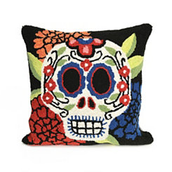 Lady Sugar Skull Square Pillow
