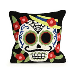 Gentleman Sugar Skull Square Pillow