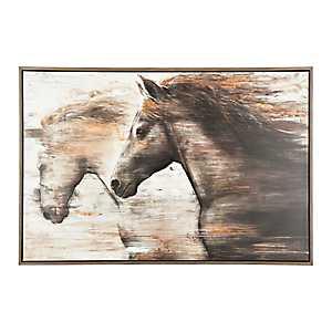Galloping Horses Framed Canvas Art Print