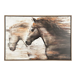 Galloping Horses Framed Canvas Art Print