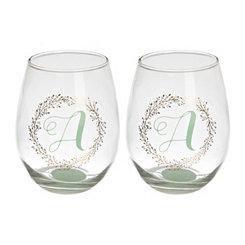 Gold Wreath Monogram Wine Glasses