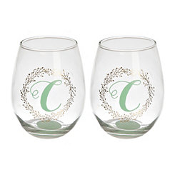 Gold Wreath Monogram C Wine Glasses, Set of 2