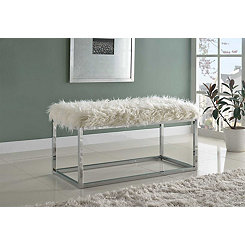 White Faux Fur and Silver Metal Bench