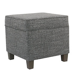 Gray Square Storage Ottoman