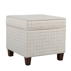 Natural Windowpane Square Storage Ottoman