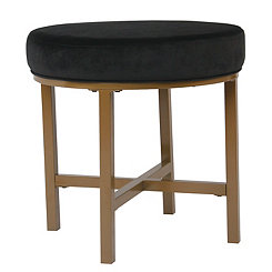 Black Velvet Round Golden Ottoman