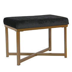 Black Tufted Velvet Golden Ottoman
