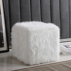 White Faux Fur Cube Ottoman
