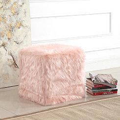 Pink Faux Fur Cube Ottoman
