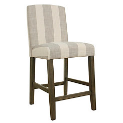 Gray Stripe Curved Back Counter Stool