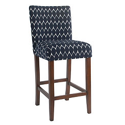 Textured Navy Parsons Bar Stool