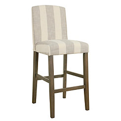 Gray Stripe Curved Back Bar Stool