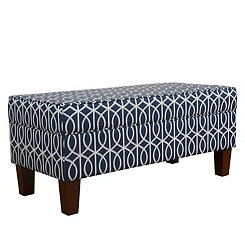 Blue Trellis Storage Bench