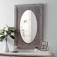 Chevron Wood Gray Washed Framed Mirror