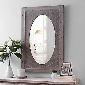 Chevron Wood Gray Washed Framed Mirror
