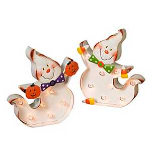 Smiling Pre-Lit Ghost Statues, Set of 2
