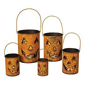 Orange Jack O' Lantern Luminaries, Set of 5