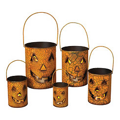 Orange Jack O' Lantern Luminaries, Set of 5