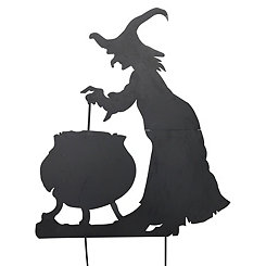 Metal Witch Silhouette Yard Stake