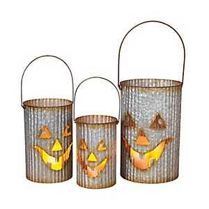 Metal Jack O' Lantern Luminaries, Set of 3