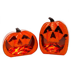 Glowing Hammered Jack O' Lanterns, Set of 2