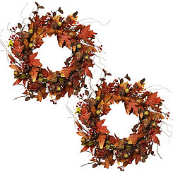 Harvest Acorn Wreaths, Set of 2