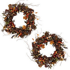 Autumn Leaf Wreaths, Set of 2